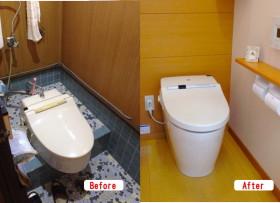 トイレリフォーム 簡易洋式トイレを節水トイレに