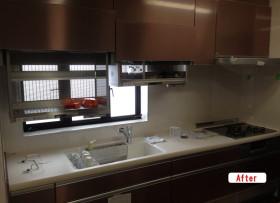キッチンリフォーム 自動昇降棚のシステムキッチン